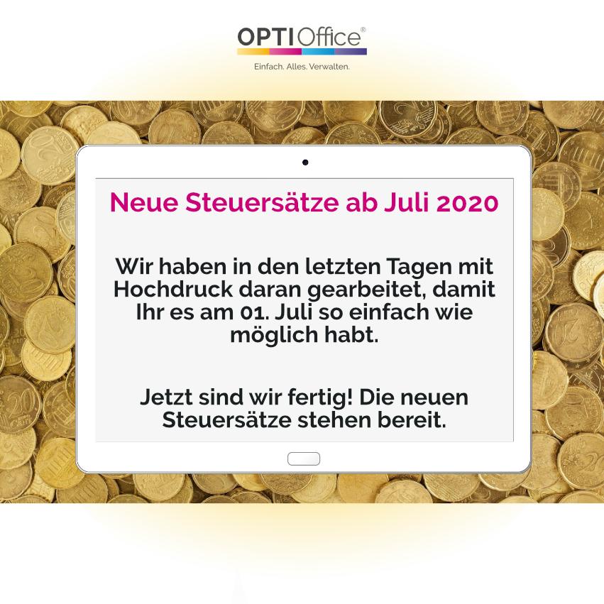 Neue Steuersätze 07/2020